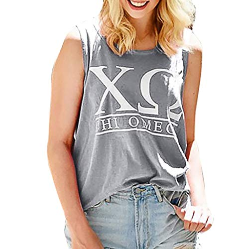 MISYAA Sleeveless Tunic Tops for Women, Greek Letter Print Tank Top Baggy Summer Casual Shirt Hot Sweatshirt Tees Gray