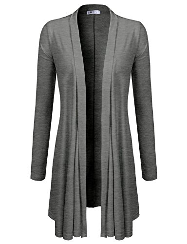 H2H Womens Long Sleeve Ombre Open Front Long Cardigan with Stretch Darkgray US M/Asia M (CWOCAL072)