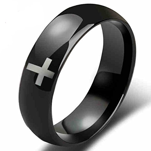 Carbide Tungsten 4 Crosses - Womens 4mm Tungsten Carbide White Cross Ring Wedding Engagement Black Domed Band For Him Her Comfort Fit