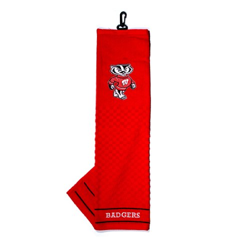 Team Golf NCAA Wisconsin Badgers Embroidered Golf Towel, Checkered Scrubber Design, Embroidered Logo
