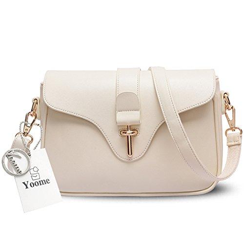 Yoome gran capacidad de bolsos retro hebilla simple para mujeres damas carteras con correas de hombro - gris Crema