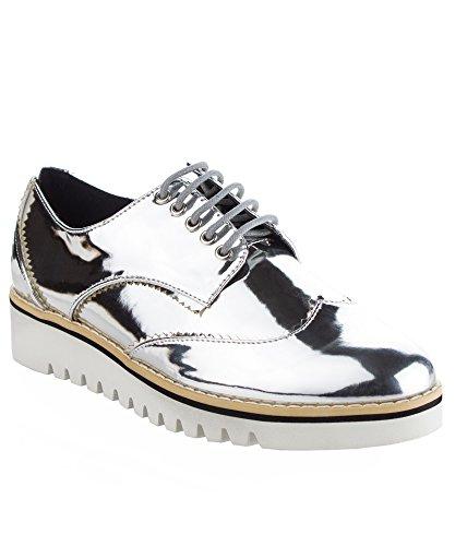 Cape Robbin Women's Fashion Patent Leather Metallic Flatform Lace Up Platform Oxford...