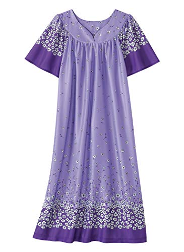 AmeriMark Lounger House Dress with Pockets for Women Mumu Nightgown Plus Size ()