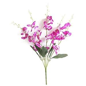 Artfen Artificial Butterfly Orchid Flower Silk Flower Bouquet Artificial Flower Plant for Wedding Home Decoration 24'' High 9
