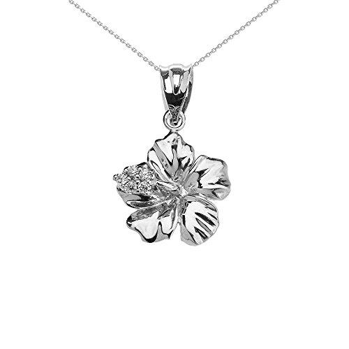 10k White Gold Caribbean Hibiscus (Malvaceae) Dainty Diamond Pendant Necklace, 16