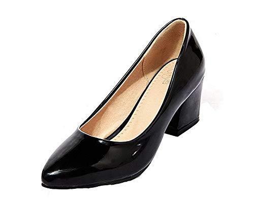 Noir Talon Légeres Verni Couleur TSFDH005678 Chaussures AalarDom Unie Femme Tire Correct à P1qq4ABZ