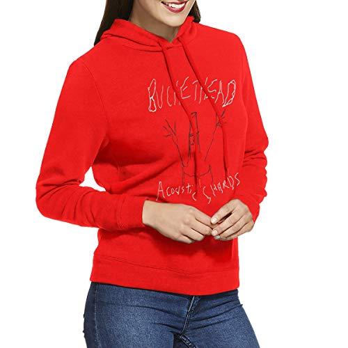 (RHZTPYRDE Buckethead Acoustic Shards Women's Hooded Sweatshirt Red)