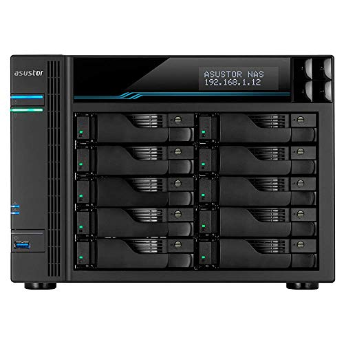 Asustor Lockerstor 10   AS6510T   Enterprise Network Attached Storage   2.1GHz Quad-Core, Two 10GbE Port, Two 2.5GbE Port, Two M.2 Slot for NVMe SSD Cache, 8GB RAM DDR4 (10 Bay Diskless NAS)