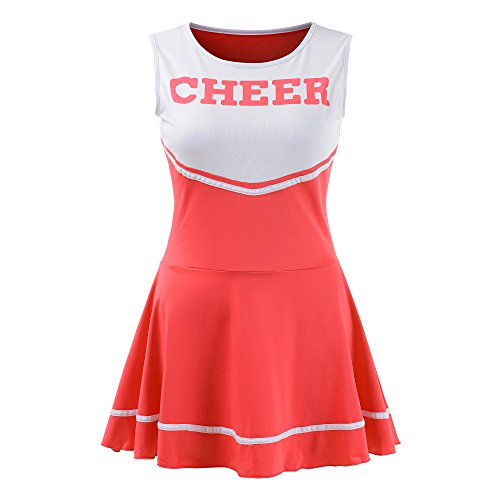 Women's Musical Uniform Fancy Dress Cheerleader Costume Outfit (Red) ()