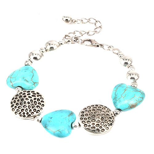 Green Turquoise Heart (Aprilsky Women's Tibetan Silver Rimous Heart Shape Turquoise Bangle Bracelet Adjustable)
