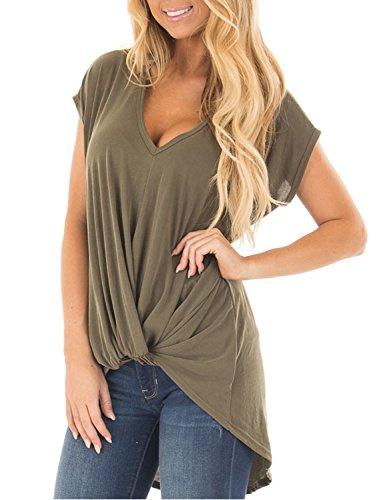 Blooming Jelly Women's Short Sleeve Plunge Deep V Neck Shirt Pleated Hi Low Top Knotted T Shirt(XL, - Knot Top Neckline