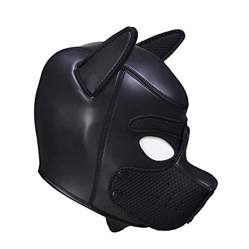 Neoprene Puppy Hood Custom Full Face Novelty Animal Head Mask Costume Dog Head Masks (Black)]()
