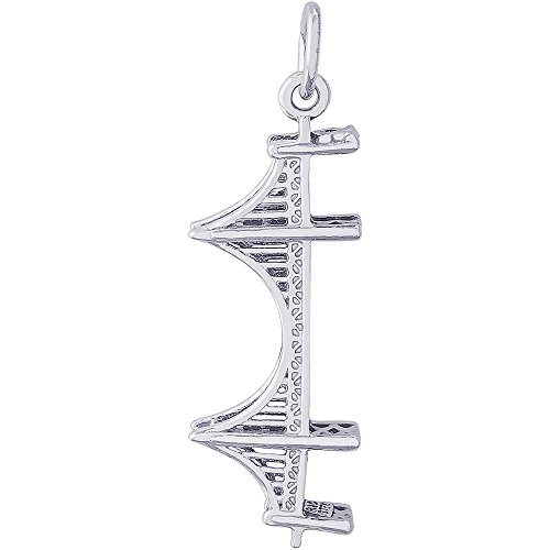rling Silver 3-D Golden Gate Bridge Charm (28 x 11 mm) (3d Silver Charms)
