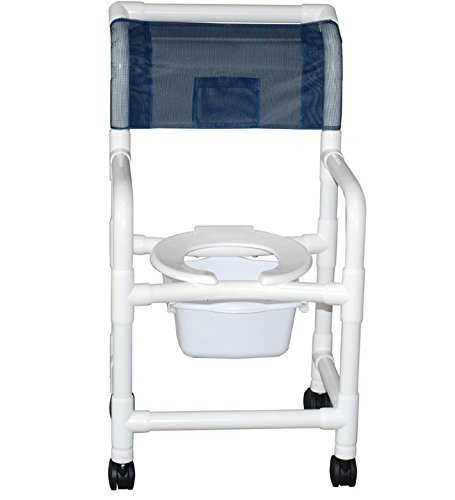 MJM International 118-3TW-SQ-PAIL Standard Shower Chair with Commode Pail, 300 oz Capacity, Royal Blue/Forest Green/Mauve