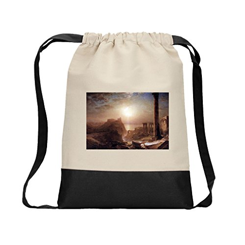 Syria On The Sea (Church) Canvas Backpack Color Drawstring Bag - Black by Style in Print