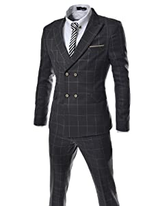 B00FWEA2WU (JES180) TheLees Slim Fit Peaked Lapel Checker Dress Suit Set DARKGRAY
