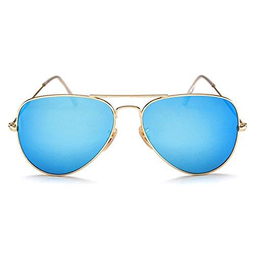 YuFalling Polarized Aviator Sunglasses for Men and Women Gold Frame/Light Blue Lens