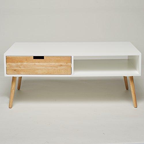 Couchtisch Lowboard TV Tisch Weiss Natur Mit 2 Schubladen Wohnzimmertisch Beistelltisch Retro Stil Design Chic Wohnzimmer Sofa Amazonde Kche