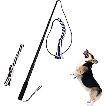 ANG Interactive Dog Tug Toy, Teaser Wand Outdoor Playing for Pulling, Chasing, Chewing, Teasing, Training (Large)