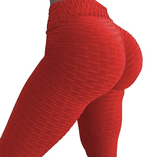 Ruched Leg Pant - Fittoo Women's Honeycomb Ruched Butt Lifting High Waist Yoga Pants Chic Sports Stretchy Leggings Red(XL)