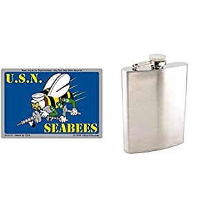 "U.S. Navy Seabees Sticker 2 3/4"" x 4"" & Stainless Steel Hip Flask 8oz by FindingKing"