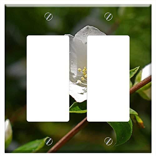 Mock Drop - Switch Plate Double Rocker/GFCI - Rain-Wet Mock Orange Flowers Raindrops Wet Blossom