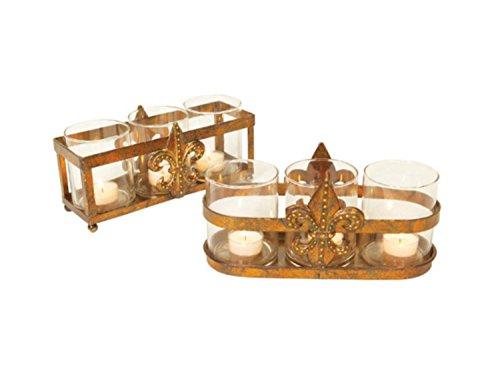"""UPC 762152171068, Set of 2 Rich Plum Antique Gold Fleur-De-Lis Christmas Tea Light Holders 10"""""""