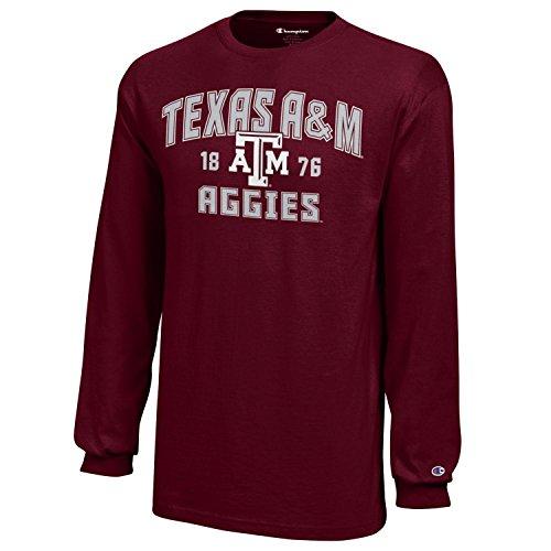 Champion NCAA Texas A&M Aggies Youth Boys Long sleeve Jersey T-Shirt, Small, (Aggies Long Sleeve)