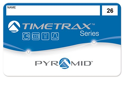Pyramid 41303 employee swipe cards numbered 26-50 for TimeTrax TTEZ, TTEZEK, PSDLAUBKK, TTPRO, TTMOBILE, FASTTIME 8000, FASTIME 9000 Time Clock Systems. Requires 25-Employee Upgrade Software Package if purchased for TTEZ Time Clock System. 25/pk by Pyramid