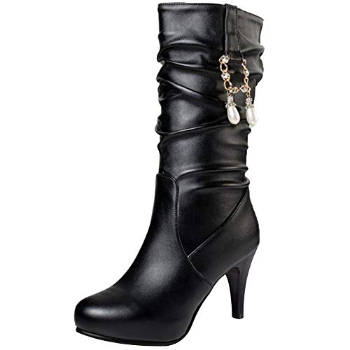 Coolcept Women Thin Heel Slouch Boots Pull On Black