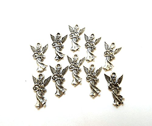 Set of Ten (10) Pewter Angel Playing Mandolin/Guitar Charms