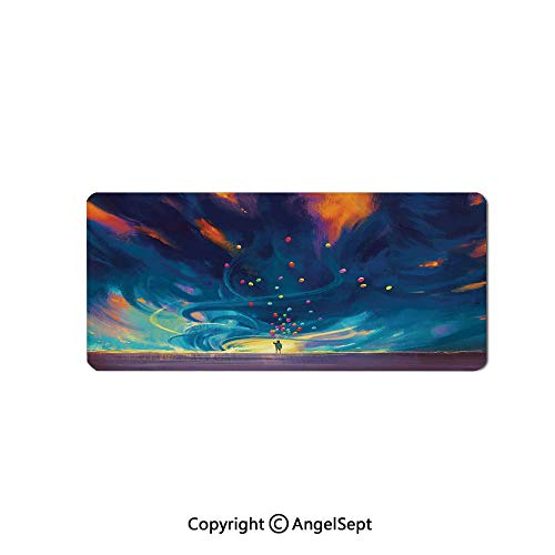 Large Gaming Mouse Pad with Durable Stitched Edges, Non-Slip Rubber Base, Mouse Mat for Office/Computer/Laptop-Abstract Home Decor,Child Holding Balloons Standing in Front of Fantas,16