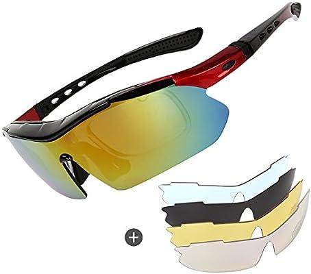 Gafas de sol polarizadas para ciclismo, para hombre, para ciclismo, críquet, deportes, con 4 lentes intercambiables, protección UV400 para montar en ...