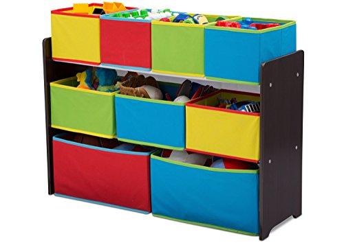 41uIXtr5WoL - Delta Children Deluxe Multi-Bin Toy Organizer with Storage Bins, Dark Chocolate/Primary Colored