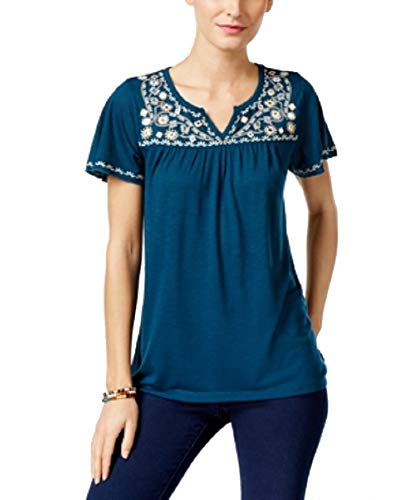 - Style & Co. Petite Embroidered Split-Neck Top (Femme Teal, PM)