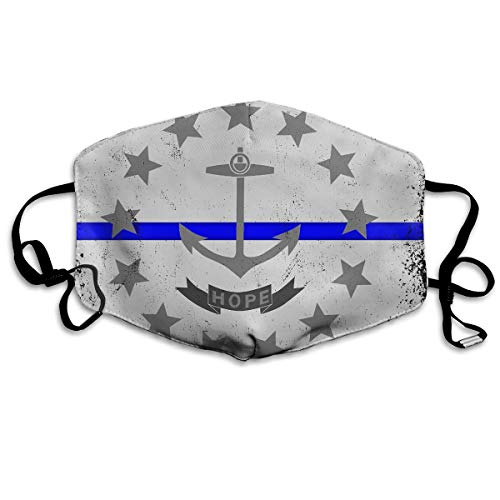 Unisex Blue Line Rhode Island State Flag Warm Fashion Washable Mouth Mask, Anti-dust Face Mask for Men and ()