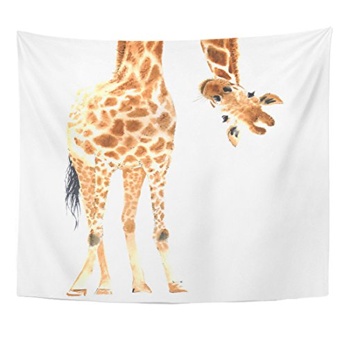 Emvency Tapestry Animal Realistic Giraffe Made in Watercolor Zoo Safari Hand Home Decor Wall Hanging for Living Room Bedroom Dorm 50x60 inches by Emvency