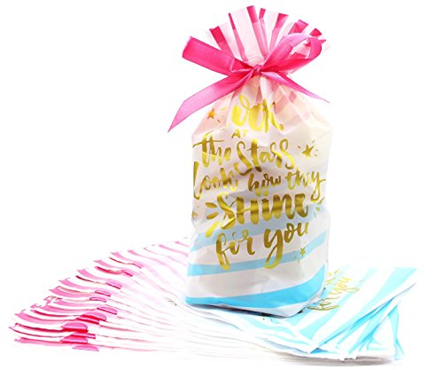 Zealax 15pcs Treat Bags Printed Shiny Gold Letters Gift Wrapping Drawstring Plastic Goodies Package Bags, 6 inches x 9 - Looks Day Valentines
