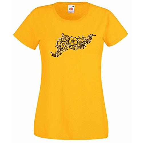 Motif T Symbole Fleurs Hasard Gratuit Fruit Super Loom Des Mehandi Modèle Indian Henna Décalque Cadeau Au Premium Tatouage The Of Jaune shirt Avec Femmes Éthique YZnwWqrIZ