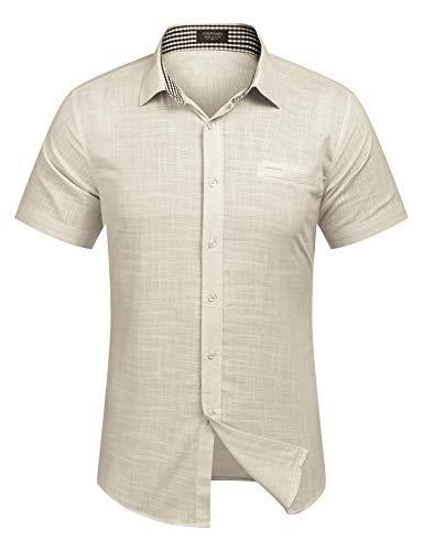 Burlady Herren Hemd Kurzarm Leinenhemd aus Baumwollmischung Kariert Sommer Freizeit Men´s Shirt