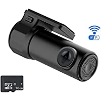 Mini WiFi Car DVR Dash Video Camera with Wifi Connect HD Dashboard Camera Recorder with 170 Degree Wide Angle and 360° Rotation Lens with APP Monitor Night Vision G-Sensor,WDR 16GB SD Included