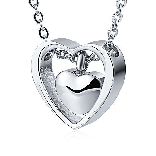(Aeici Jewelrly Stainless Steel Urn Necklaces for Ashes Double Heart Urn Pendant Memorial Keepsake)
