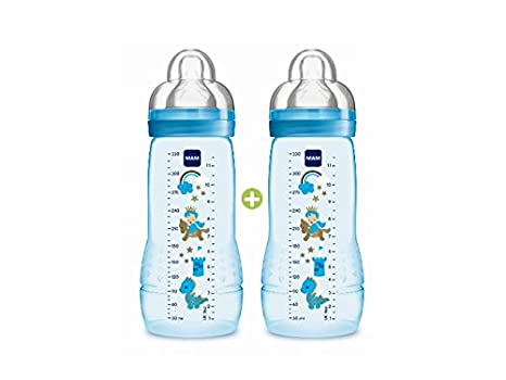 MAM - Biberón de plástico, 2 x 330 ml, color azul (4014803)