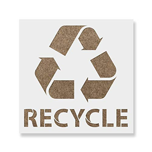 Recycle with Text Stencil Template - Reusable Stencil with Multiple Sizes Available