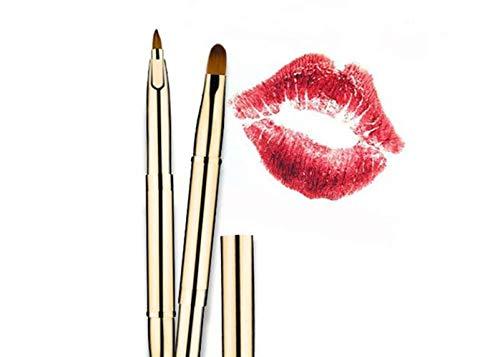 Brush Lip (Qpower Makeup Brushes 1 Pc Lip Brush Nylon Hair Double-headed Retractable Cosmetic Brush Portable Gold (Double))