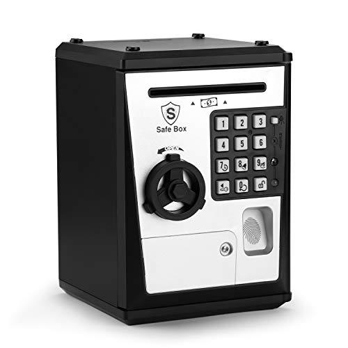 AGPTEK Piggy Bank, Electronic Piggy Bank Auto Scroll Paper Money Safe Box, Password & Fingerprint Function, Electronic Coin Box for Children