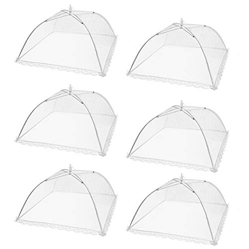 HabiLife 6 pack Large Pop-Up Mesh Food Cover Tent,17 Inches Food Protector Covers  Reusable and Collapsible Outdoor Picnic Food Covers Tent For Bugs, Parties Picnics, BBQs]()