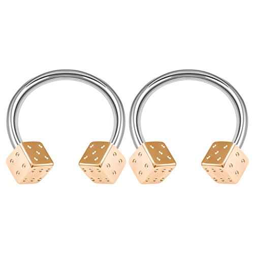 2PCS Surgical Steel Horseshoe Circular Barbell 14 Gauge 1/2 12mm 4mm Rose Dice Septum Earrings Labret Piercing Jewelry 3267