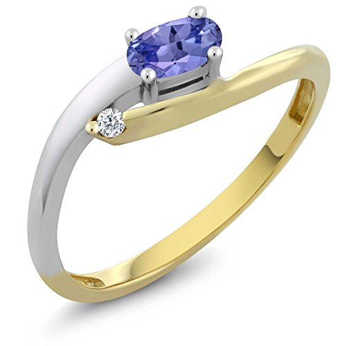 Gem Stone King Solid 18K 2-Tone White and Yellow Gold Blue Tanzanite & White Diamond Women's Ring 0.25 cttw (Size 5) - Tone Two Tanzanite Ring