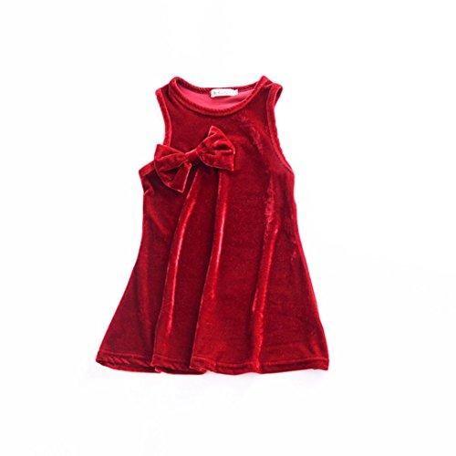Velour Dress Jumper (Baby Girls Velour Bowknot Sleeveless Solid Jumper Skirts Vest Dress Sundress 0-4T (12 Months, Red))